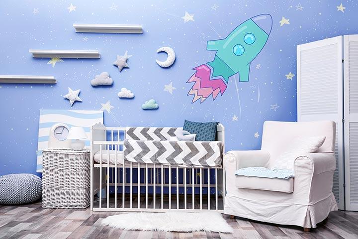 Uzay Temalı Bebek Odası Fikirleri